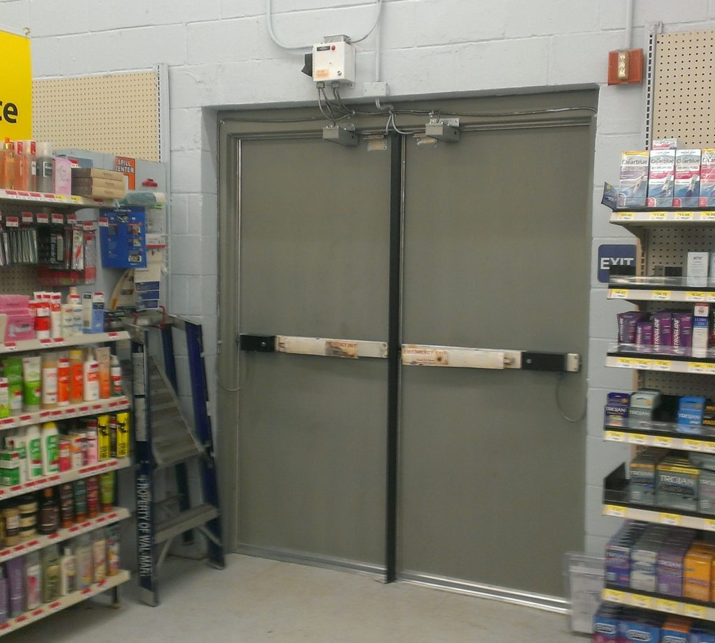 Commercial Metal Doors at Retail Store